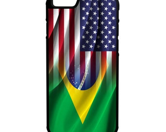 America Brazil Flag iPhone Galaxy Note LG G4 Hybrid Rubber Protective Case Brasil