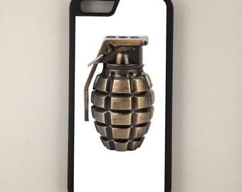 Hand Grenade iPhone Galaxy Note LG HTC Protective Hybrid Rubber Hard Plastic Snap on Case Black