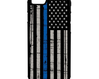 Blue Lives Matter iPhone Galaxy Note LG HTC Hybrid Rubber Protective Case American Flag Police