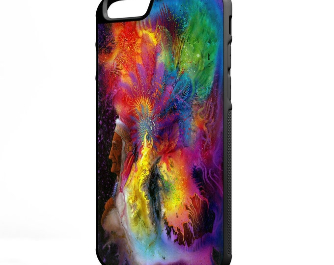 Native American Psychedelic Headdress iPhone Galaxy Note LG HTC Hybrid Rubber Protective Case