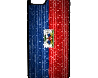 Haitian Flag Brick Wall iPhone Galaxy Note LG HTC Hybrid Rubber Protective Case