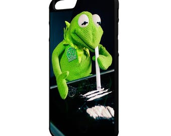 Kermit The Frog on Cocaine Hybrid Rubber Protective Phone Case