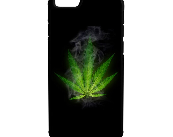 Green Weed Leaf Smoke iPhone Galaxy Note LG HTC  Hybrid Rubber Protective Case