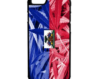 Haitian Weed Flag iPhone Galaxy Note LG HTC Hybrid Rubber Protective Case Haiti