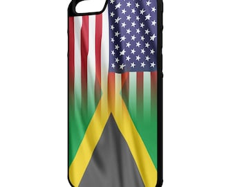 "Jamaica American Flag iPhone 4/4s 5/5s 5c 6 4.7"" 6 Plus 5.5"" Galaxy S4 S5 S6 Note 3 4 Hybrid Rubber Protective Case"