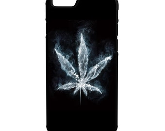 Blue Weed Leaf iPhone Galaxy Note LG HTC Hybrid Rubber Protective Case