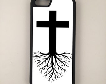 Rooted In Faith iPhone Galaxy Note LG HTC Hybrid Rubber Protective Case Christian White Background