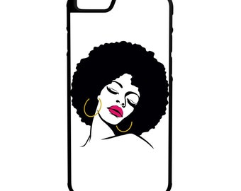 Afro Glam iPhone Galaxy Note LG HTC Hybrid Rubber Protective Case