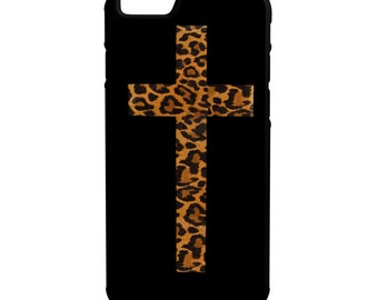 Cheetah Print Cross iPhone Galaxy Note LG HTC Hybrid Rubber Protective Case Animal Print