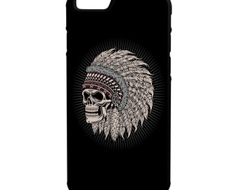 Native American Skull iPhone Galaxy Note LG HTC Hybrid Rubber Protective Case