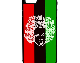 Pan African Afro Chic iPhone Galaxy Note LG HTC Hybrid Rubber Protective Case
