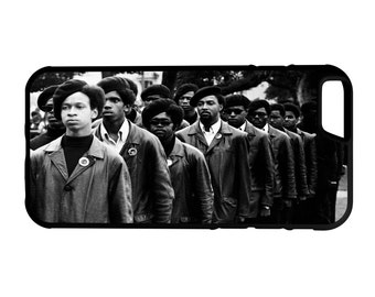 Black Panther Party Marching iPhone Galaxy Note LG HTC Protective Hybrid Rubber Hard Plastic Snap on Case Black