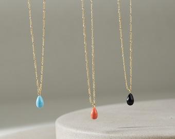 Gemstone Drop Necklace / Single Teardrop Pendant Necklace / Gold Filled Jewelry