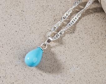Turquoise Drop Pendant Silver Necklace / Single Teardrop December Birthstone Jewelry / 17.70 inche long