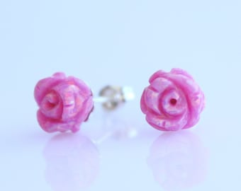 Flower Opal Stud Earring / Rose Baby Pink Opal Floral Studs / Delicate Jewelry Jewellery