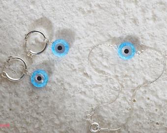 Evil Eye Opal Jewelry Set / Nazar Protection  Bracelet and Hoop Earrings / Sterling Silver Jewelry