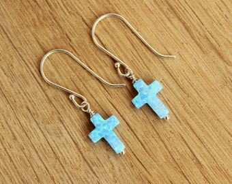 Cross Opal and Semi Precious Ear Studs 925 Sterling Silver For Women and Girls