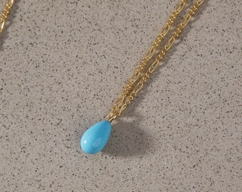 December Birthstone Necklace / Blue Turquoise Jewelry / Gold Filled Pendant Necklace