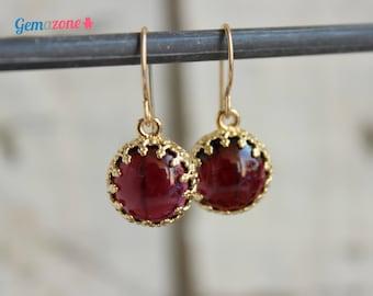 Garnet Earrings / Garnet Dangle Earrings / Gemstone Earrings / Red Garnet / Natural Garnet / Gold Garnet Jewelry January Birthstone Earrings