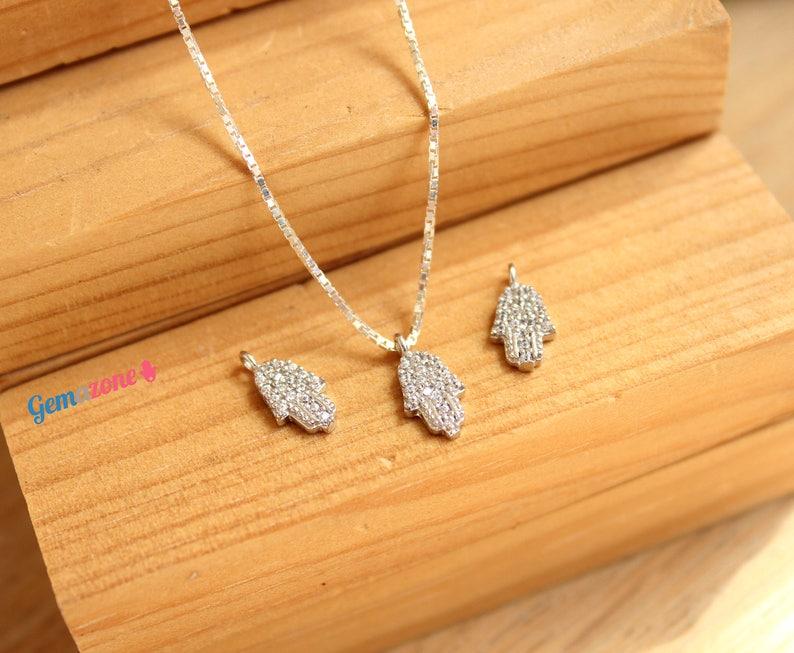 Hamsa Hand Necklace  Evil Eye Protection Necklace  Hamsa Charm Pendant  Sterling Silver Jewish Jewelry