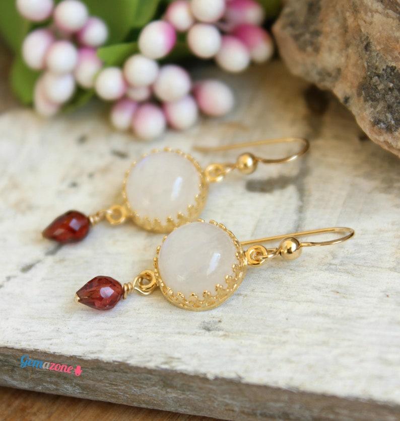 Moonstone Garnet Earrings  Gemstone Dangle Earrings  Birthstone Jewelry