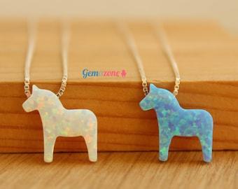 Dala Horse Opal Necklace / Swedish Dalahast Pendant Necklace / Scandinavian Charm / Nordic Animal Necklace