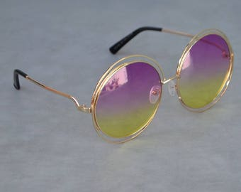 Sevenites Style Round Sunglasses with Hombre lenses