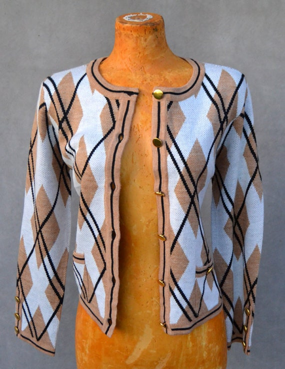 Argyle Cardigan with Gold Buttons