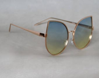 Cat eye Sunglasses with Gold Detail and Hombre Lenses