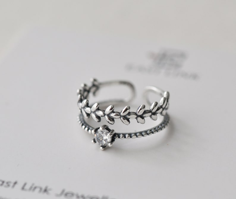 925 sterling silver leaves ring leaf stacking ring silver branch ring vine ring band ring size adjustable gift by East Link Jewellery