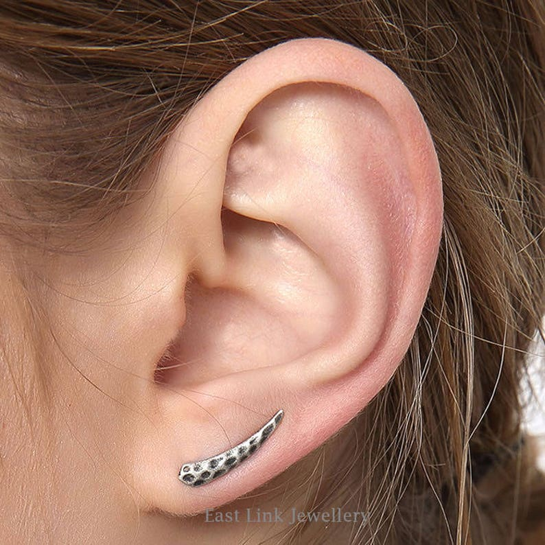 925 Silver ear climbers earrings hammered horn shaped stud lobe earrings 1 pair