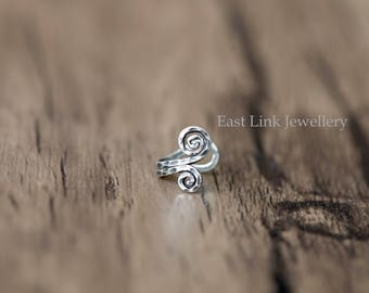 925 sterling silver double spiral ear cuff nose cuff tragus cuff lobe cuff earring one single piece vintage style