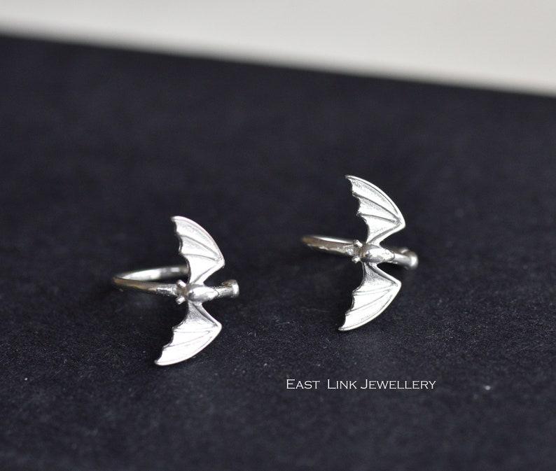 Sterling silver bat ear cuff silver ear cuff earrings pair womens earring by East Link Jewellery