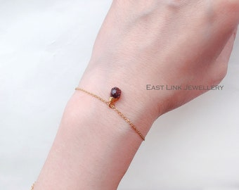 14K gold plated delicate mini natural Garnet bracelet January birthstone gift for women jewellery by East Link