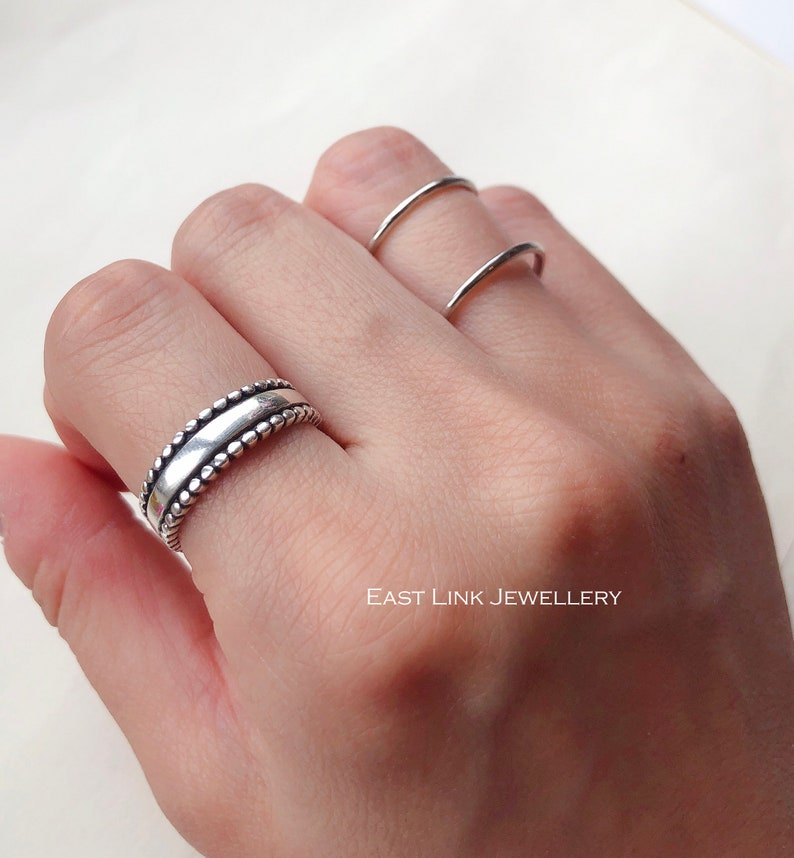 925 sterling silver double band ring stacking ring silver size adjustable gift by East Link Jewellery