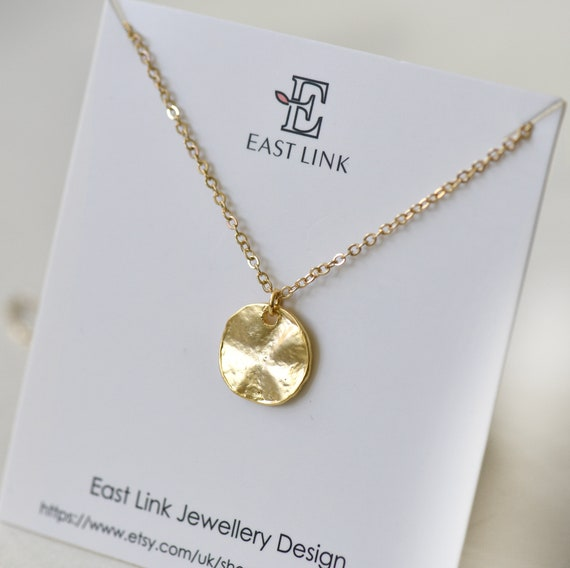 Beautiful delicate silver plated gold plated classic circle round crystal pendant necklace womens jewellery gift by East Link