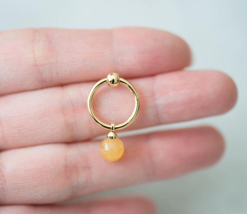 14K gold plated natural stones November Birthstone earrings yellow stud drop earrings hoop birthday gift