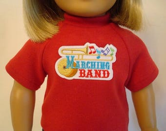 Marching Band Shirt for American Girl Doll and 18-inch Dolls – Doll Trombone Red Knit Shirt - Doll Music Band Uniform