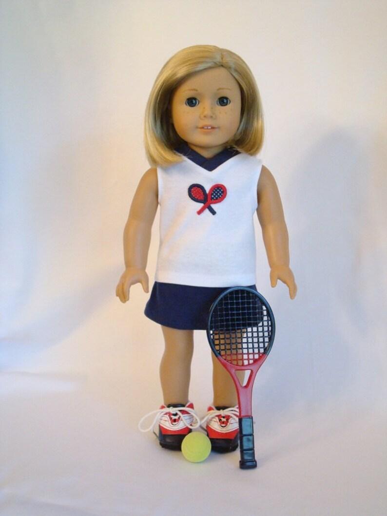 226a828c30d25 Tennis Racket 5-piece Set for American Girl Doll and 18-inch Dolls – Doll  Tennis Racket, Tennis Ball, Shoes, Shirt & Skirt -Tennis Racquet
