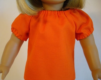 Orange Cotton Peasant Top for American Girl Doll and 18-inch Dolls – Doll Orange Shirt Bitty Baby Bitty Twins