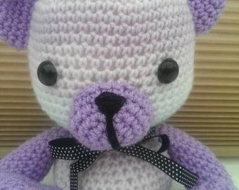 Amigurumi Cream & Lilac Teddy Bear