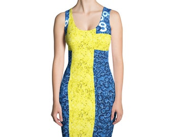 Swedish Flag Sequin Look  Mini Polyester Knit  Dress