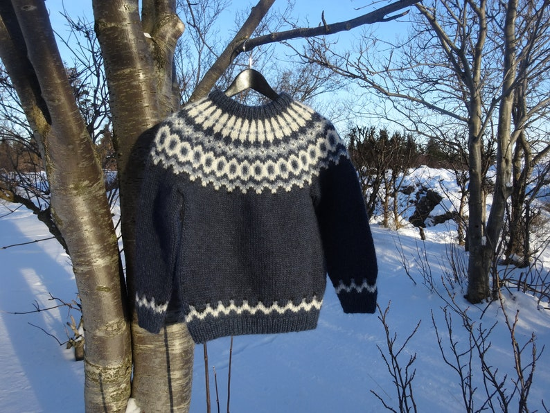 77258d817f3 Ready to ship. Blue Icelandic children wool sweater. Handmade in Iceland.  Blue with light blue, black and white pattern.