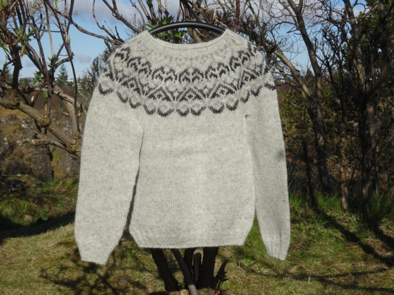 pattern TO warm jumper dark L natural M in wool READY SHIP Keep with Icelandic Grey sweater this grey TYHvnqwd