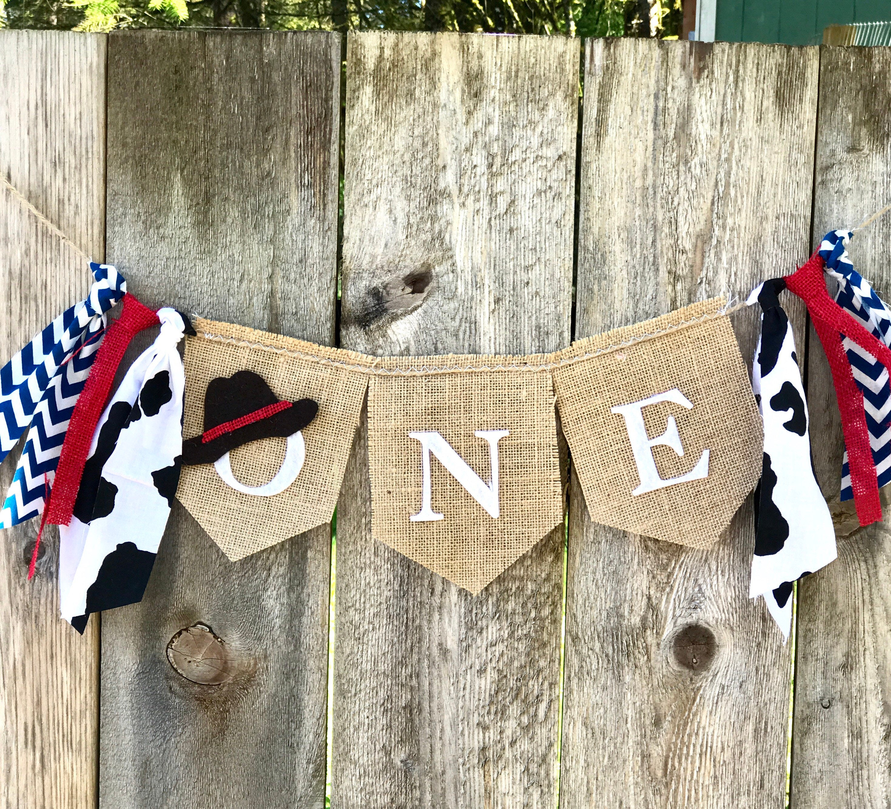 COWBOY BIRTHDAY Banner First Rodeo Backdrop Photo Prop