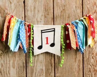 Music birthday party. First birthday party bunting. Rainbow birthday bash. 1st birthday highchair decoration. Rock star birthday
