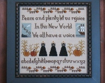 Primitive Cross Stitch Sampler Pattern PDF Thanksgiving 1620