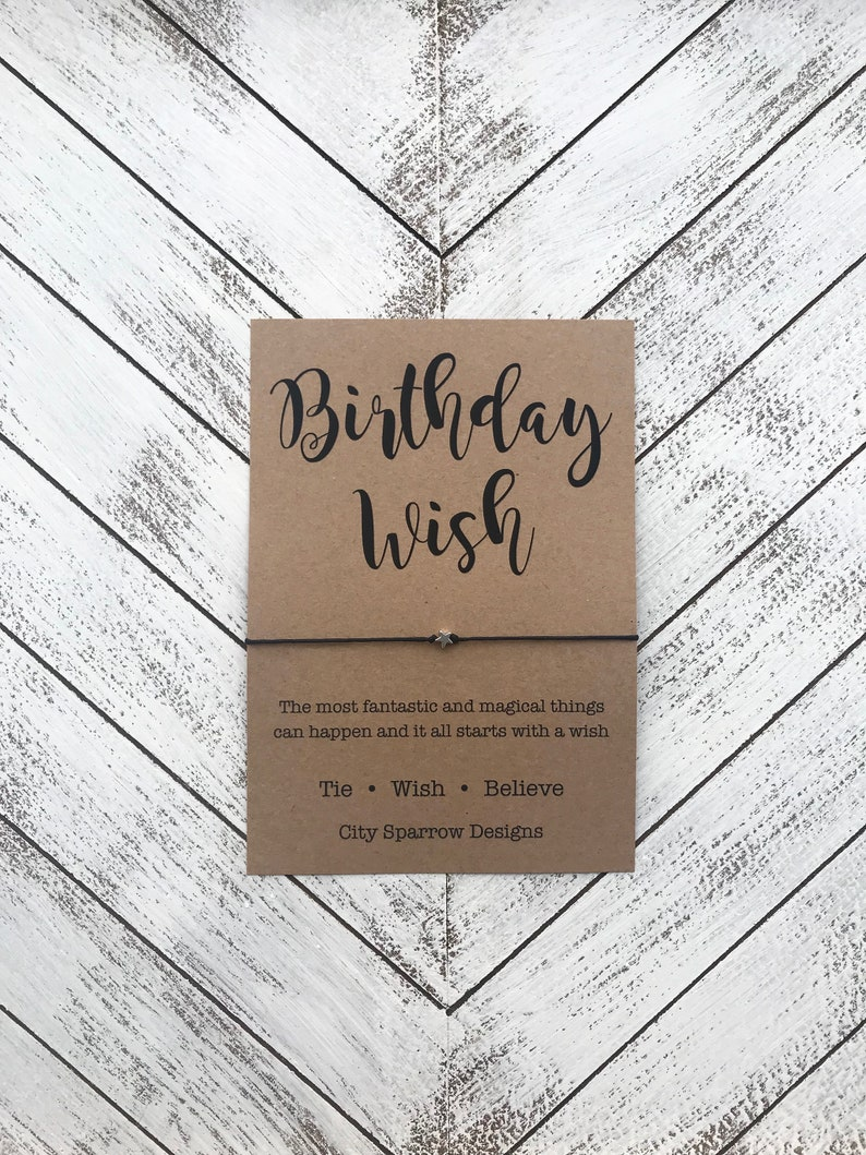 Birthday Girl Birthday Wish bracelet with your choice of beads on a 1mm waxed cotton cord tie on bracelet,keepsake card Bday Card Friend