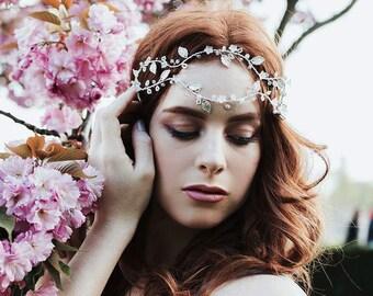 Couture bridal double headband, Silver wedding headpiece, Boho hair jewelry, Bridal double hairvine, Wedding hair vine, Bridal hairpiece