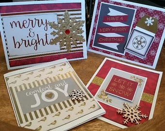 Handmade Christmas cards- 4 pack